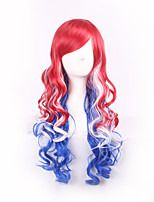Red Mixed Bule To White Color Cospaly Synthetic Wigs For Afro Women