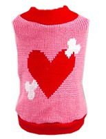 Cat / Dog Sweater Pink Dog Clothes Winter / Spring/Fall Hearts Cute / Birthday / Casual/Daily