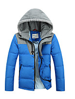 Men's Regular Down Coat,Simple Casual/Daily Solid-Polyester White Duck Down Long Sleeve Blue / Green