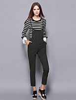 Women's Going out / Casual/Daily Vintage / Simple Fall / Winter T-shirt Pant Suits,Striped Round Neck Long Sleeve Black Cotton / Polyester