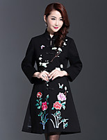 AINIER Women's Casual/Daily Chinoiserie CoatEmbroidered Stand Long Sleeve Fall Black Cotton / Polyester Medium
