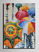 Mini Size E-HOME Oil painting Modern Umbrella In The Rain Pure Hand Draw Frameless Decorative Painting