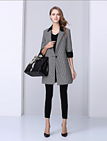 NEDO Women's Casual/Daily Simple CoatColor Block / Houndstooth Notch Lapel  Length Sleeve  Wool / Polyester