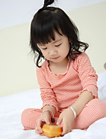 Girl's Casual/Daily Striped Clothing Set / SleepwearCotton Spring / Fall Black / Pink