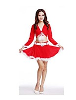 Christmas Costume /Holiday Halloween Costumes Red Solid Top / Skirt Christmas Female