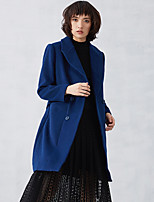 CARBAMMI  Women's Casual/Daily Simple CoatSolid Peaked Lapel Long Sleeve Fall Blue Wool / Polyester Opaque