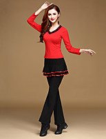 Latin Dance Outfits Training Milk Fiber / Modal Ruffles 2 Pieces Long Sleeve Natural Top / Pants