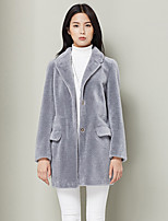Xuebao Women's Casual/Daily Simple Fur CoatSolid Cowl Long Sleeve Fall / Winter Gray Wool Thick