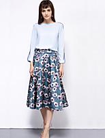 ARKMIIDO Women's Floral Blue / Beige SkirtsVintage Midi