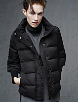 DL.FANG Women's Regular Down CoatSimple Going out / Casual/Daily Solid-Polyester White Duck Down Long Sleeve Stand Black