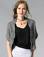 Women's Going out / Casual/Daily / Holiday Simple / Street chic Regular Cardigan,Solid Blue / Black / Gray Asymmetrical Short Sleeve