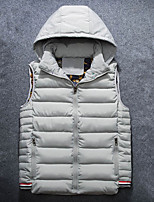 Men's Padded Coat,Street chic Plus Size Solid-Polyester Polypropylene Sleeveless Hooded Blue / Red / Beige / Black / Gray