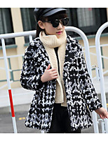 Girl Casual/Daily Plaid Trench Coat,Cotton Winter / Fall Long Sleeve