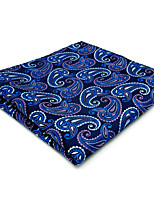 Mens Pocket Square Blue Paisley 100% Silk Business Fashion For Men Jacquard Woven
