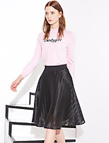 I'HAPPY Women's Solid Black SkirtsSimple Knee-length