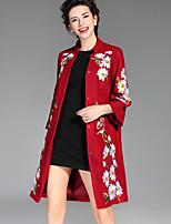 Женский На каждый день / Большие размеры Вышивка ПальтоШинуазери (китайский стиль) Осень / Зима Синий / Красный / Зеленый Длинный рукав,