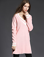 Women's Plus Size / Going out Simple Sweater DressSolid V Neck Above Knee Long Sleeve Blue / Pink Polyester