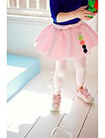 Девичий Платье,На каждый день,Однотонный,Хлопок,Зима / Осень,Зеленый / Розовый