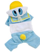 Cat / Dog Costume / Clothes/Jumpsuit Blue Dog Clothes Winter / Spring/Fall Cartoon Cute / Cosplay