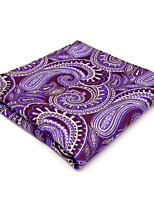 Men's Pocket Square Handkerchief Hanky Purple Paisley For Men 100% Silk Wedding