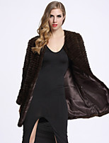 BF-Fur Style Women's Casual/Daily Sophisticated Fur CoatSolid Round Neck Long Sleeve Winter Brown Rabbit Fur
