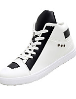Men's Sneakers Fall Winter Comfort PU Casual Flat Heel Lace-up Black White