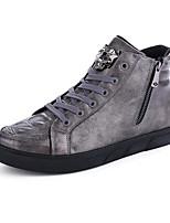 Men's Fashion Boots Casual High Top Retro Shoes Flat Heel Zipper Lace-up Black / Red / Silver Walking EU39-43