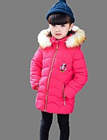 Girl's Casual/Daily Embroidered Down & Cotton PaddedPolyester Winter Black / Pink / Purple / Red