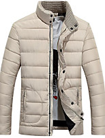Men's Regular Padded Coat,Simple Casual/Daily Solid-Polyester Cotton Long Sleeve Stand Blue / Red / Beige / Black