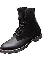 Черный Коричневый-Мужской-Повседневный-Полиуретан-На плоской подошве-Удобная обувь-Ботинки