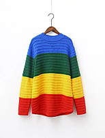 Women's Going out / Casual/Daily Cute Long Pullover,Color Block Blue / Red / Green / Yellow / Multi-color Round Neck Long Sleeve Polyester