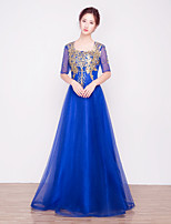 A-line Mother of the Bride Dress Floor-length Half Sleeve Tulle with Appliques