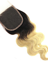 4x4 Top Closure Body Wave Remy Human Hair Closure Medium Brown Swiss Lace Hair Extensions 12''-18'' 1b/613 Blonde