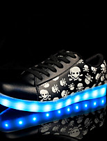 LED Light Up,Unisex Sneakers Spring Summer Fall Winter Comfort Leather Outdoor Casual Athletic Low Heel Lace-up Black Walking