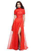 TS Couture® Formal Evening Dress A-line High Neck Floor-length Organza with Split Front