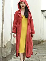 Feminino Casaco Trench Casual Simples Primavera / Outono,Sólido Vermelho Linho Com Capuz-Manga Longa Média