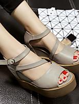 Women's Sandals Summer Slingback PU Casual Platform Black / Gray