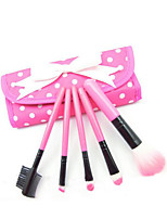 5 Makeup Brushes Set Synthetic Hair Portable Plastic Face / Send Package