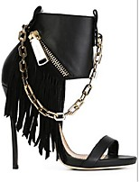Women's Sandals Summer Comfort PU Casual Stiletto Heel Zipper Chain Tassel Black Others