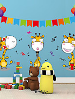 Cartoon Animals Giraffe Carnival Party Wall Stickers Fashion Removable Children's Bedroom Wall Decals