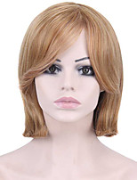 Short Straight Hair Light Brown and Blonde Color Synthetic Wigs for Women