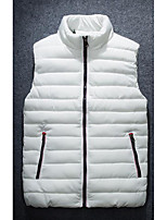 Men's Down Coat,Simple Plus Size / Casual/Daily Solid-Polyester Without Filling Material Sleeveless Blue / Red / White / Black