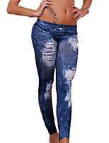 Ženy Jednobarevné Tištěné Roztřepené Denim Legging,Polyester