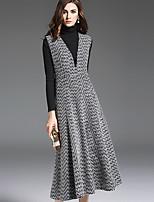 1898 Women's Casual/Daily Simple Loose DressColor Block V Neck Midi Sleeveless Gray Wool