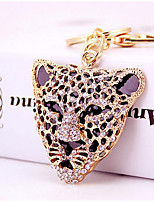 Fashion exquisite diamond leopard Head Car Keychain