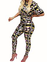 Damen Druck Einfach Ausgehen / Formal Set Hose Anzüge,Ständer Sommer / Herbst Kurzarm Mehrfarbig Polyester Undurchsichtig