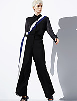 DL.FANG Women's Casual/Daily Simple Spring / Fall Set PantStriped Shirt Collar Long Sleeve Black Polyester Medium