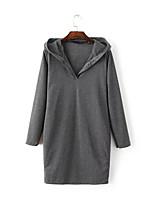 Damen T Shirt Kleid-Ausgehen Street Schick Solide V-Ausschnitt Midi Langarm Grau Polyester Herbst Mittlere Hüfthöhe Mikro-elastisch Dick
