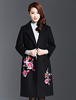 AINIER Women's Casual/Daily Chinoiserie CoatEmbroidered Notch Lapel Long Sleeve Fall Black Wool / Polyester Medium