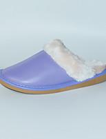 Feminino-Chinelos e flip-flops-Chanel-Rasteiro-Roxo-Couro Ecológico-Casual
